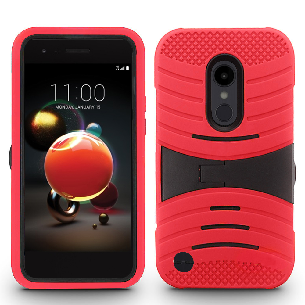the latest 2c84f 35d6d LG Aristo 2 / X210 / Tribute Dynasty / K8 2018 Hybrid Silicone Case Cover  Stand Red
