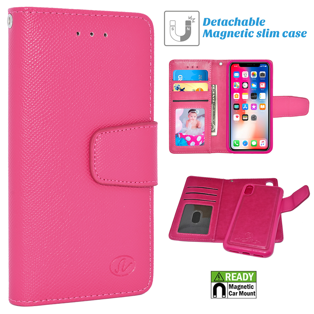 buy popular 4e80a fef9c Apple IPhone X / 10 Folio Leather Removable Magnetic Wallet Case Cover Pink