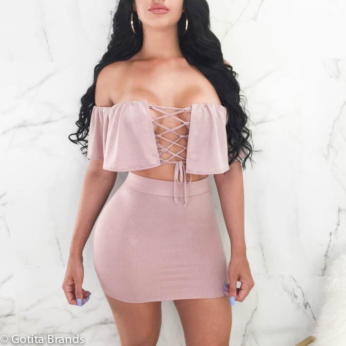 528fadb16656c9 Bellissimo Fashion – Sexy Strapless Off-Shoulder – Crop Top – Short Skirt  ...