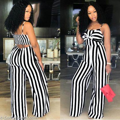 89fa737240a Classy Fashion Dresses – Straps Cut Out Back – Wide Leg Jumpsuit – Black  Stripes