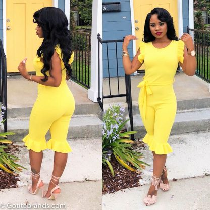 b91d1e21a53 New Fashion Trends – Women s Round Neck Ruffle Slim Short Jumpsuit Rompers  – Yellow