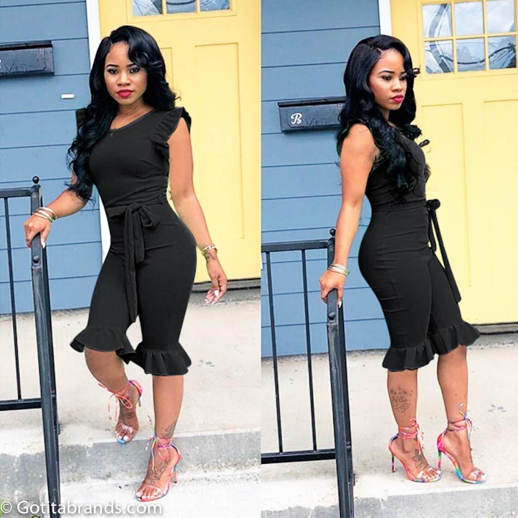 New Fashion Trends Womens Round Neck Ruffle Slim Short Jumpsuit