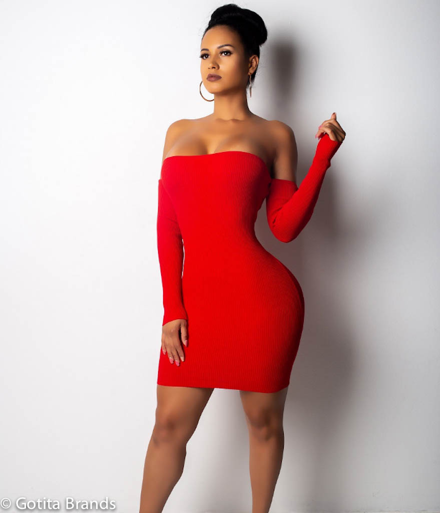 Miami Fashion Clubwear Summer Party Off Shoulder Open Back Red