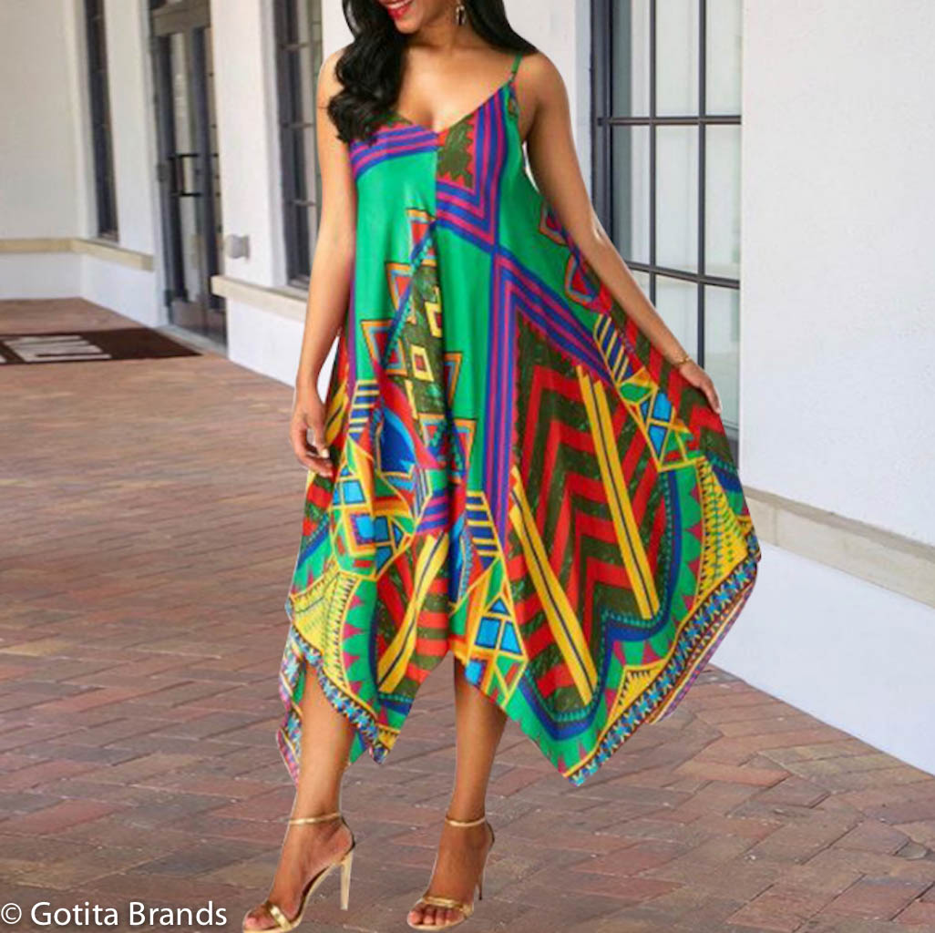 Afro Beat Fashion Chic African Print Colorful Dress