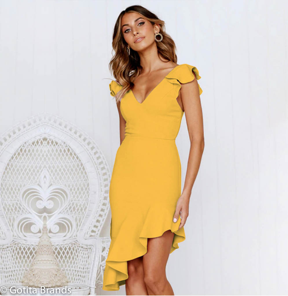 Yellow and Black Club Dress