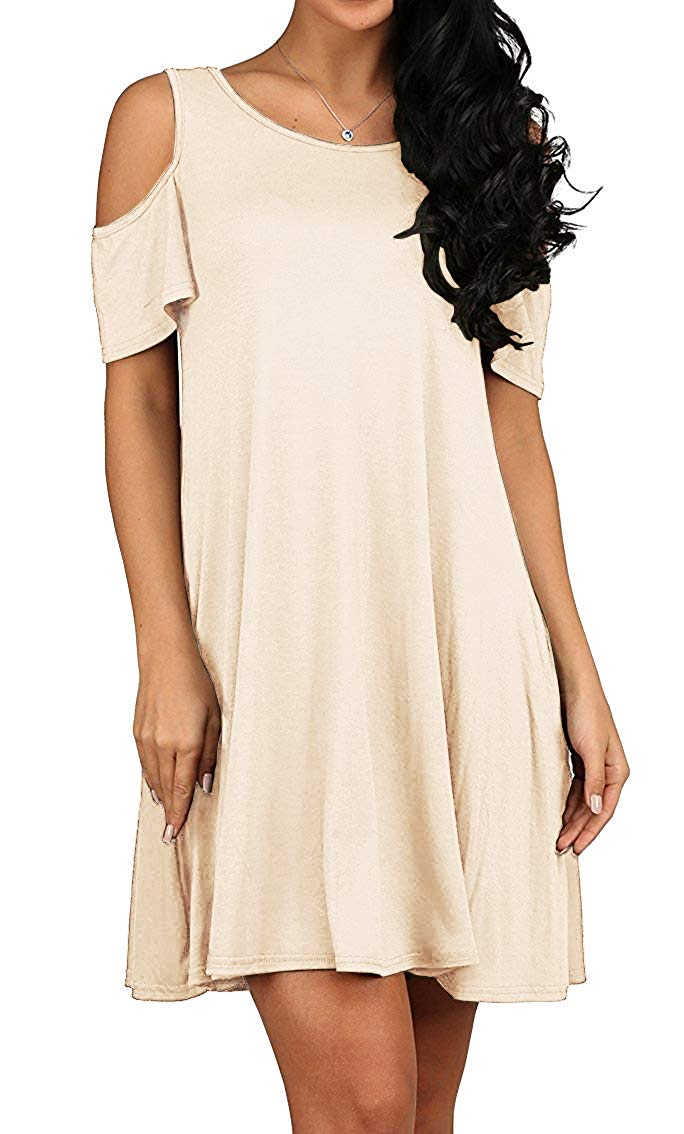 Ladies Beige Fashion Dress Loose Fit Ruffle Sleeve Cold