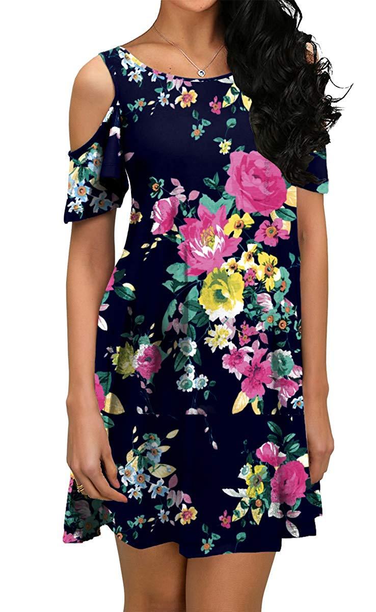 Purple Navy Summer Dress Short Sleeve Loose Fit