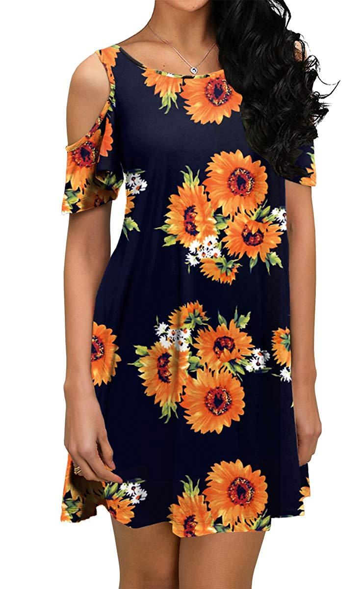 Black Brown Summer Dress Short Sleeve Loose Fit